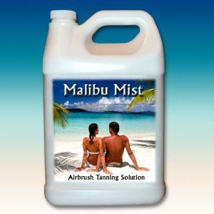Malibu Mist Airbrush Tanning Solution 1 Gallon 8% by Malibu Mist. $72.99. The product contains a blend of Dihydroxyacetone and Erythrulose in an optimized ratio to maximize the synergistic activity of DHA and Erythrulose. The active materials are incorporated into a base designed to provide a good dry time with reduced drying of the skin.  The base includes Aloe Vera Gel together with Moisturizing ingredients to assist in preventing skin dry out and subsequent ...
