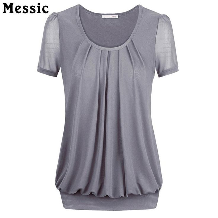 Chiffon T Shirt Women Short Sleeve O Neck Female T-shirt Tops Summer Casual Loose Ruched Tee Shirt