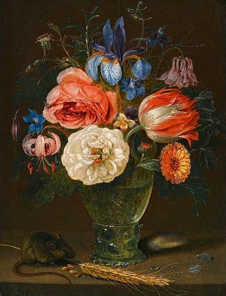 Clara Peeters  Still Life with Flowers and a Field Mouse  17th century