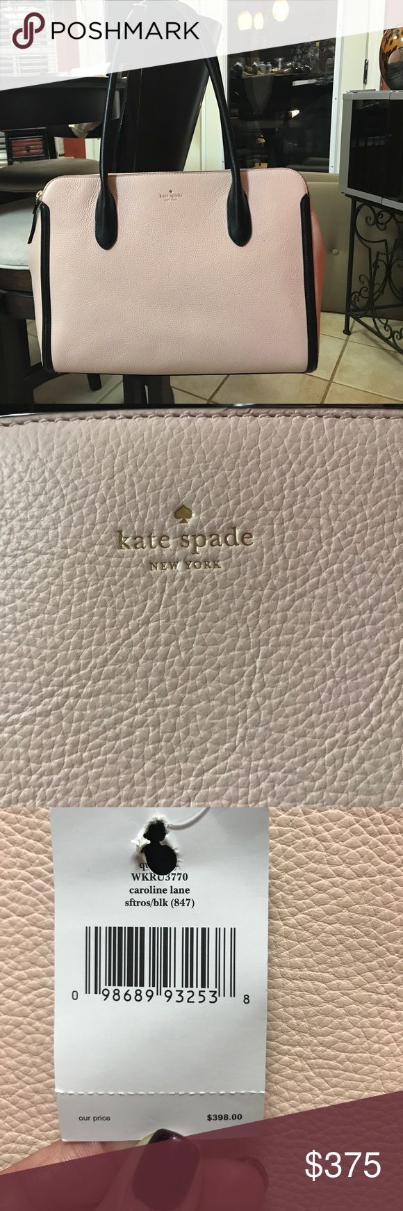 Kate Spade Bag 🔥Fall sale🔥 NWT!!!! 💯% authentic Kate Spade bag. Pink colored handbag with gold zipper accents and black handles and trim. Gorgeous bag retails for $398. All tags paper stuffing and brochure information are included. Price is firm!!!!! No trades🚫!!!! kate spade Bags Shoulder Bags