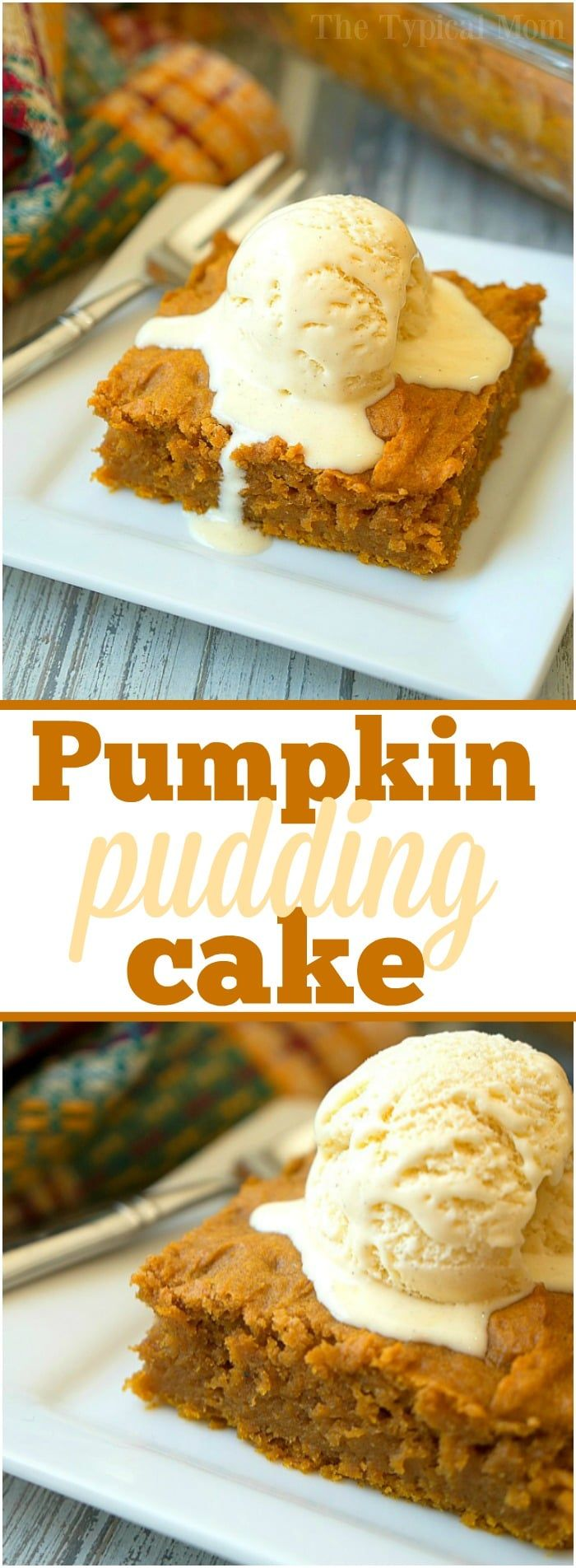This easy pumpkin pudding cake recipe tastes like pumpkin pie but way better! Just 6 ingredients to dump in and bake to moist perfection. Best Fall dessert!