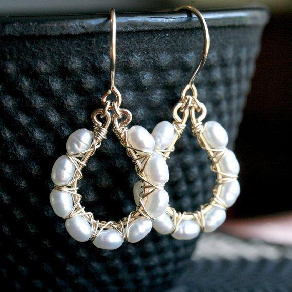 THREE pairs, bridesmaid earrings, 14k gold filled, freshwater pearl, bridesmaid jewelry, teardrop, pearl earrings, Made to Order