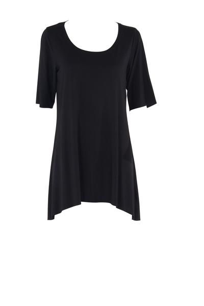 EcoDiva's relaxed modal tee boasts a stylish 'hi-lo' hemline (higher at the front) that falls mid-thigh. The tee's high back, scoop neck and elbow-length sleeve