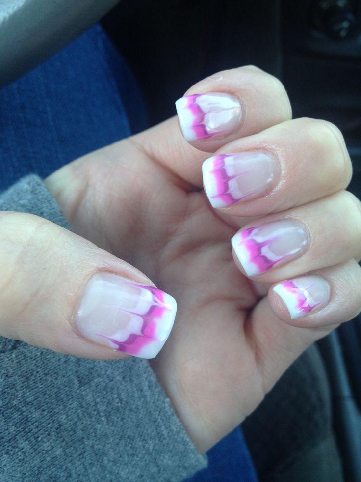Purple, light pink and dark pink nail design