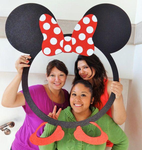 Marco de orejas de ratón para Photo Booth apoyos marco del Mdf con Glitter espumosos stand Prop portaretrato