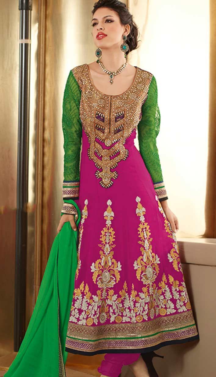 Select the Latest #Traditional Ethnic Magenta Georgette #Pakistani Salwar Kameez Online.  #Price INR- 7176 Link- http://alturl.com/6ve9e
