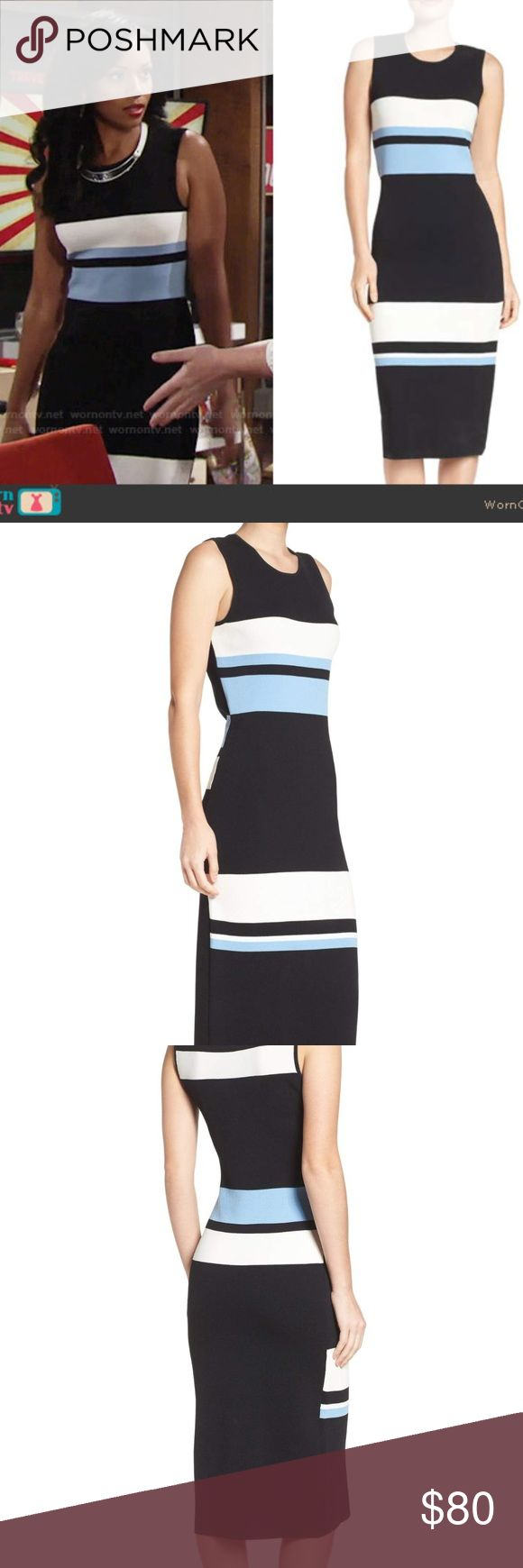 """NEW Vince Camuto blue colorblock tank midi dress Description: You can dress up or down in this figure-skimming midi dress patterned in bold color-block stripes that pop against the black background.   Color(s): blue Brand: VINCE CAMUTO Style Name: Vince Camuto Color Block Midi Dress  Style Number: 5318808 From Nordstrom Retail Price: $148  Approx measurements: Armpit to armpit: 21"""" Shoulder width: 15"""" Length (shoulder to hem): 46""""  Materials: 65% rayon, 35% nylon Dry clean or machine wash…"""