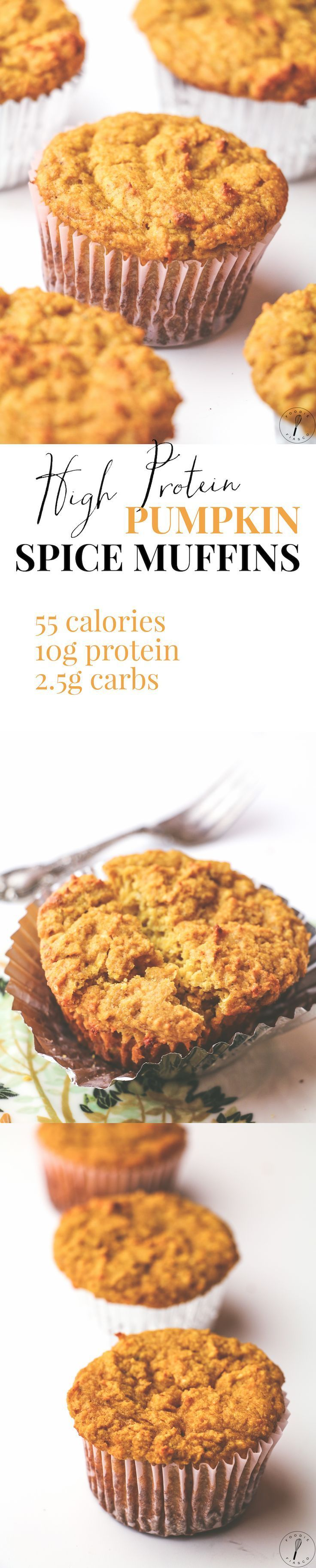 I LOVE THESE MUFFINS SO MUCH. Each giant muffin has only 55 calories but packs 10g protein (!!) and only 3g carbs! Perfectly spiced with an amazing texture. Must make!!