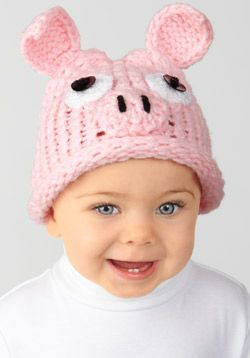 Loom Knit - Toddler size Piglet Hat uses stockinette stitch and i-cords for details