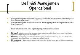 definisi manajemen operasional