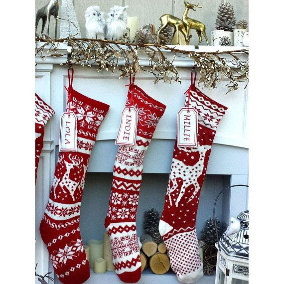 Knit Christmas Stockings Red White Reindeer Or Snowflake Etsy Christmas Stockings Christmas Stockings Personalized Knitted Christmas Stockings