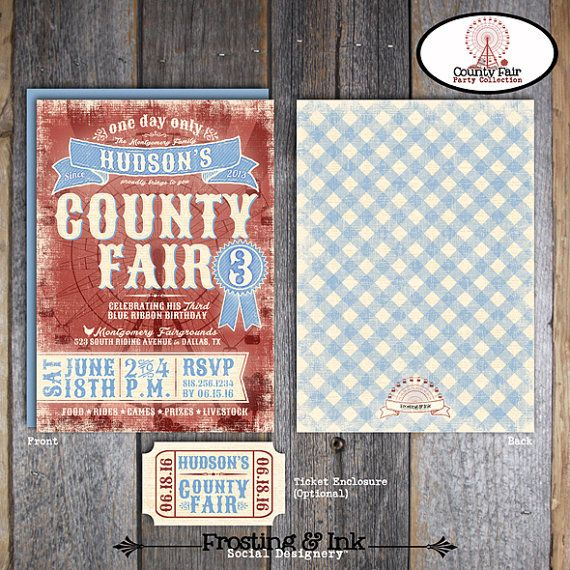 "Welcome to Frosting & Ink Social Designery™!  This listing is for the digital printable files of the 5"" X 7"" County Fair Party Invitation"