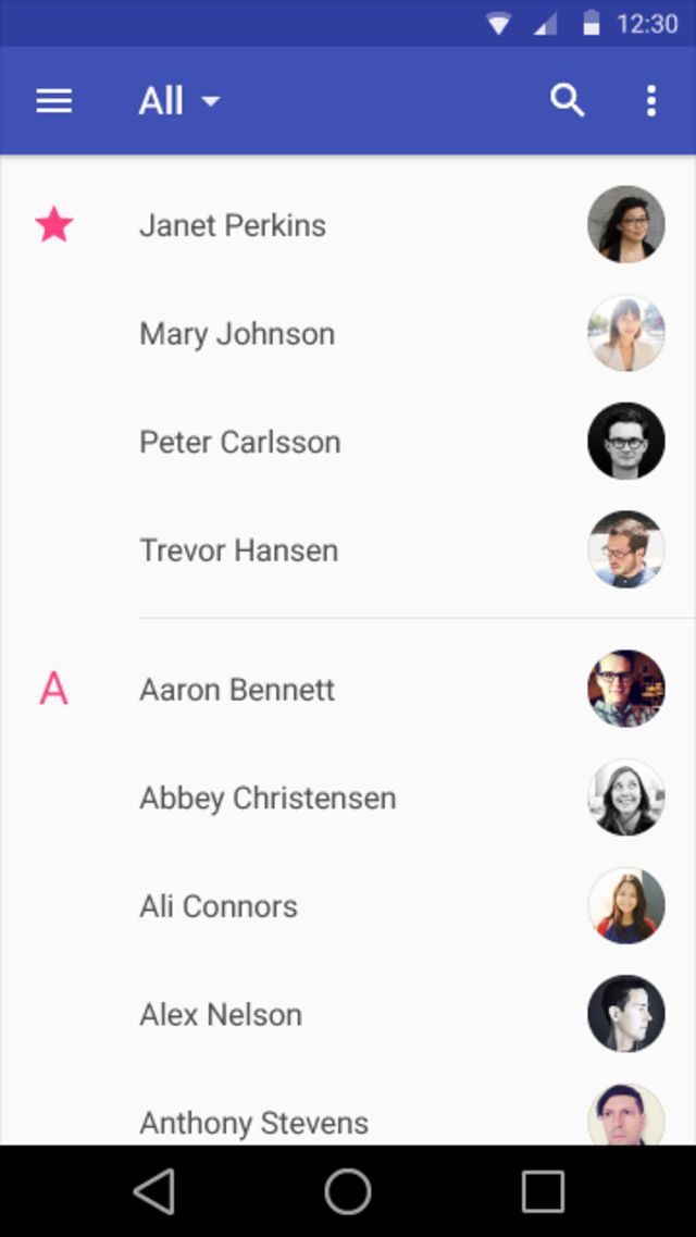 Google Material Design: Contacts / ?