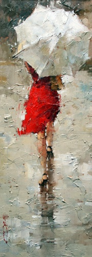 """What is it about art with umbrellas that draws me in? The mystery of who's behind it or even the imagery of the fact that we all suffer """"a little rain in our lives"""".  Love the that this is simply shades of gray with a splash of red but is instantly recognizable.(Heritage Gallery Scottsdale AZ Western Art Paintings Sculpture--Artist: Andre Kohn--This is actually a cropped version of a larger piece but, with due respect to the artist, I like this cropped version better than the original.)"""
