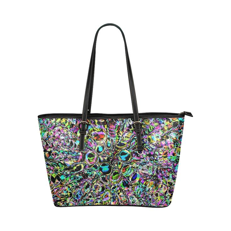 Psychedelic Explosion Leather Tote Bag/Small (Model 1651)