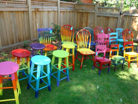 $40 each. Your Choice CUSTOM Chair Hand Painted for You, Pick your color, style  finish, Whimsical, Colorful Tie Dye, Ombre, Distressed, Shabby Chic