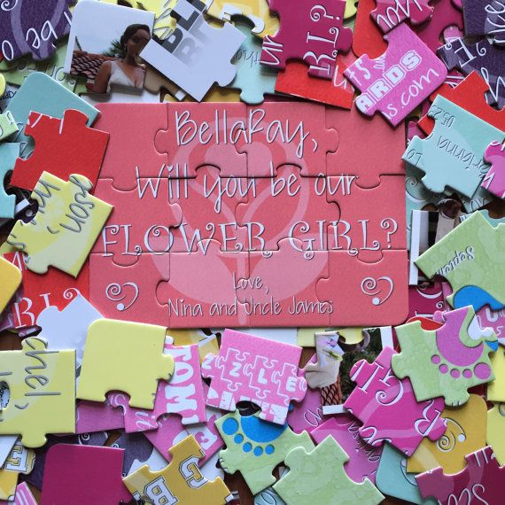 5x7 Will you be our flower girl? Personalized Wedding Party Invitation Puzzle - 12 pieces
