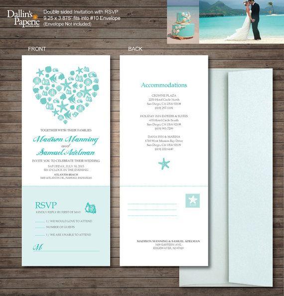 Inviti matrimonio spiaggia stampabili di DallinsPaperie su Etsy