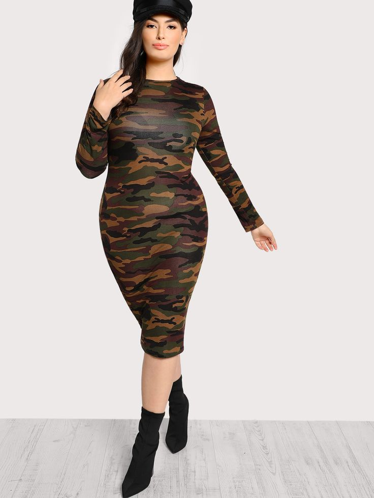 Shop Long Sleeve Solid Dress ARMY online. SheIn offers Long Sleeve Solid Dress ARMY & more to fit your fashionable needs.