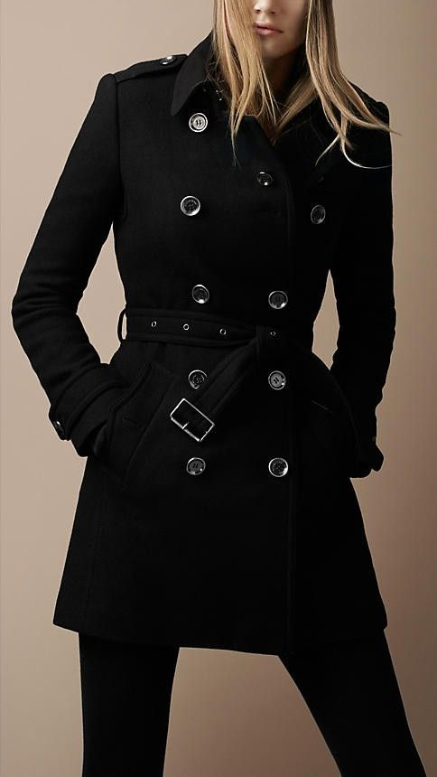 Double-Breasted Black Trench Coat For Fall - Fall Jackets