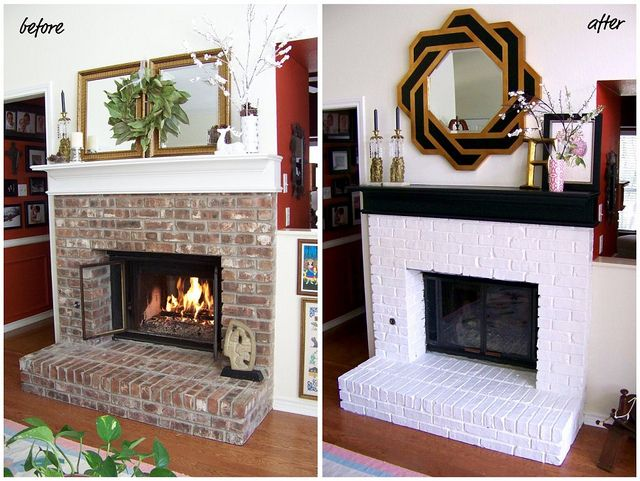 15 inexpensive ways to revamp your home decor painted brick fireplaces fireplaces and brick. Black Bedroom Furniture Sets. Home Design Ideas
