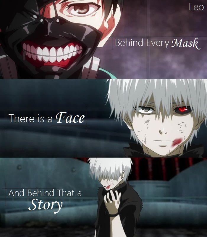 Hinter jeder Maske ist ein Gesicht das eine Geschi…
