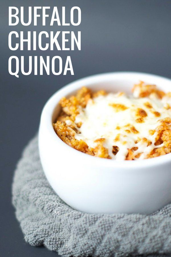 Buffalo Chicken Quinoa. For this recipe, I pulled together all the classic flavours of red hot wings into a healthy, balanced meal: chicken, Frank's, carrots & celery, and bleu or mozza cheese.