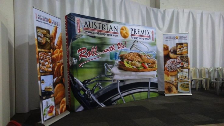 Roll up banners and a banner wall for and exhibition display event