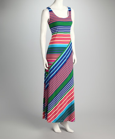 Take a look at this Blue & Pink Stripe Maxi Dress by Ronni Nicole on #zulily today!