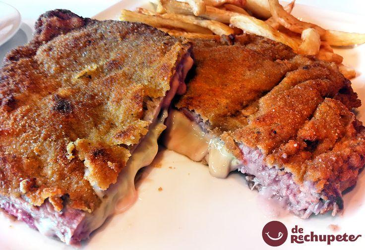 Cachopo de ternera famoso en todo Asturias, un doble filete empanado que esconde jamón y queso. Una carne tierna y jugosa, de color rosado.☆☆