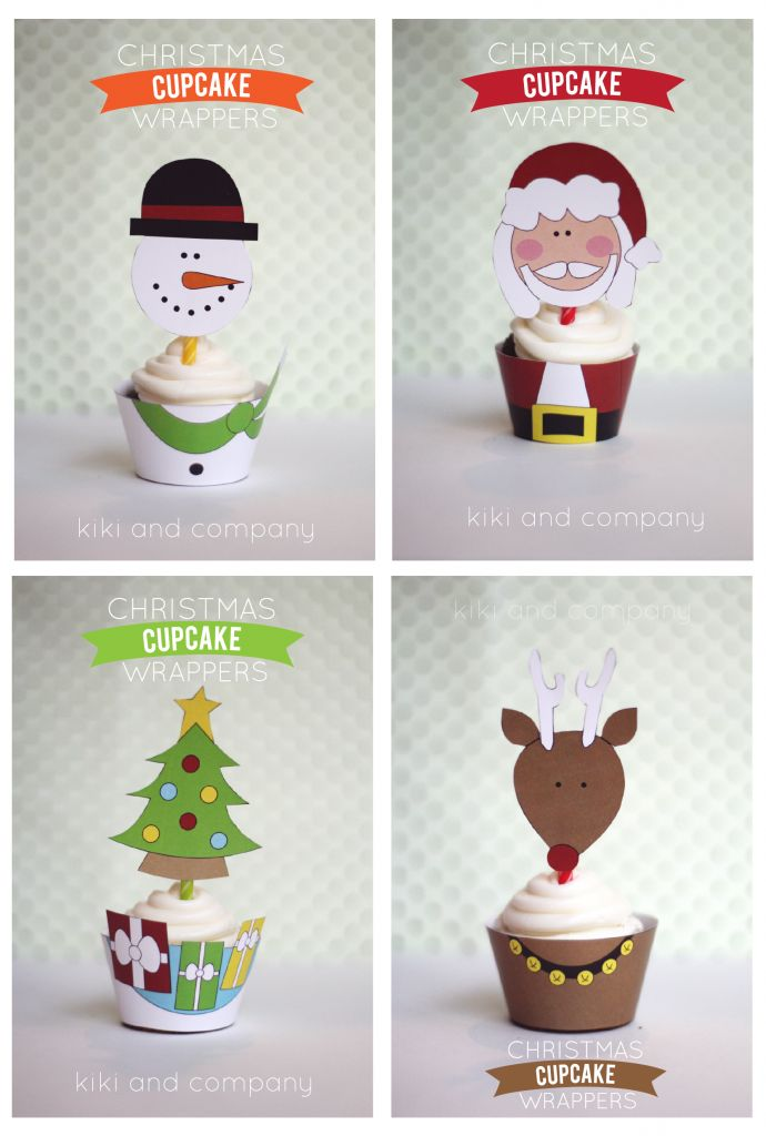 Free Christmas Cupcake Wrappers from Kiki and Company. Perfect for class parties or great Christmas break activity!