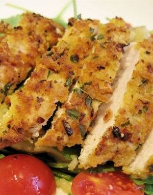 Crispy Lemon  Herb Chicken Recipe...Mmm! Serve this with a side salad and some new potatoes for a tasty meal!   tastesreallygood.com