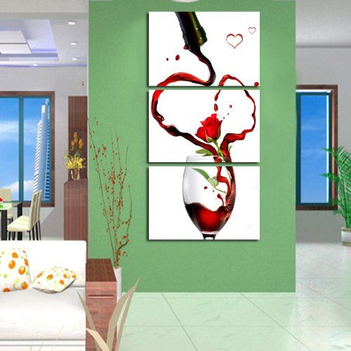 Amazon.com: Painting Modern Art Large Canvas Wall Art 3 Piece Canvas Art Unstretch and No Frame with Wine and wine Rose: Office Products