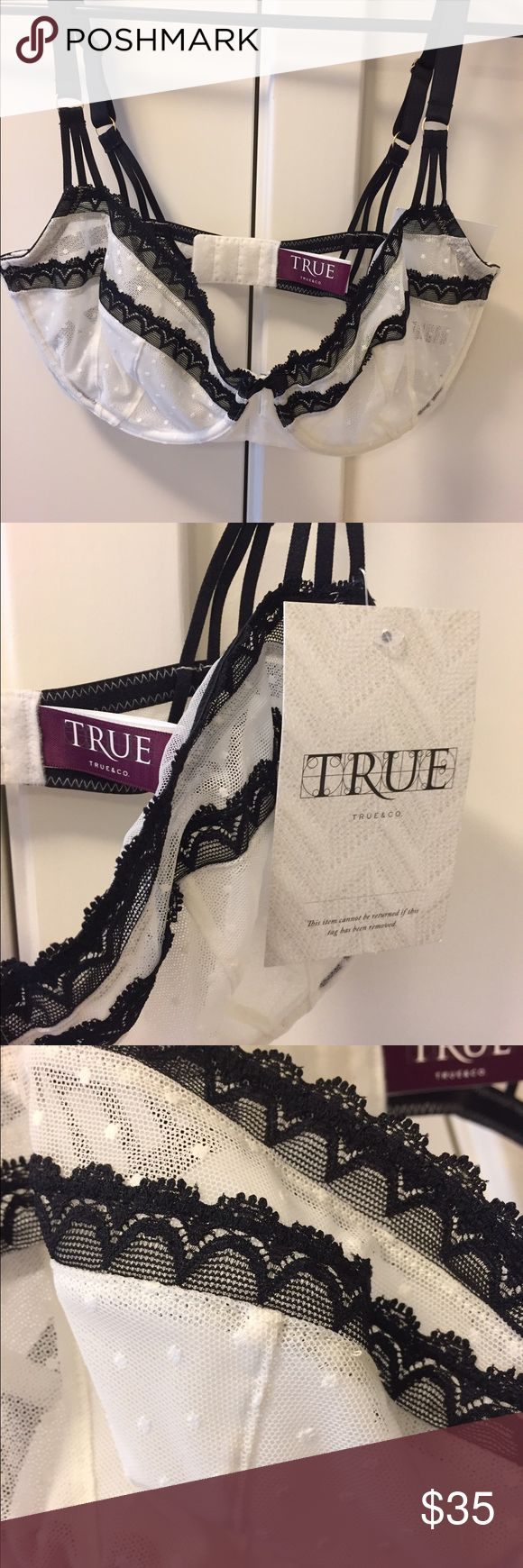 Gorgeous True & Co lace bra Never worn. Bought my normal 36 DD size but found the cups a tiny bit snug for me.  Sad :( Intimates & Sleepwear Bras