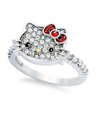 Hello Kitty Sterling Silver Ring, Small Pave Crystal Face Ring - Rings - Jewelry & Watches - Macy's