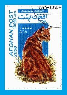 Timbre Afghanistan Chat Bobtail japonais ======================= Image.=> http://wamiz.com/chats/japanese-bobtail-51 ========================= Afghanistan 2000 - Chats Série => https://fr.pinterest.com/pin/121526889922362382/ ========================= Polychrome - Dentelé 12,75x13 Valeur faciale = 10000 AFS Référence.Y&T.=.NON OFFICIEL Estimation.= 0,50 € ========================= bijoux de Gaby Féerie => http://www.alittlemarket.com/boutique/gaby_feerie-132444.html