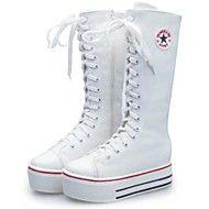 Stövlar/Modeskor ( Svart/Vit ) - till KVINNOR - Låga stövlar - med Wedge klack - Rundtå/Stängd tå/Fashion Boots - i Kanvas