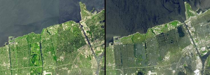 Flooding, Louisiana.  The city of New Orleans. Left: An image mosaic acquired in April and September 2000. Right: September 13, 2005. When the image at left was taken, Hurricane Katrina was well in the future and the city was dry. The right-hand image was taken 15 days after flooding began. In the latter snapshot, areas still under water appear dark blue, while places that have dried out appear light blue-gray. The failed 17th Street canal (near the left side of this picture) marks a sharp…
