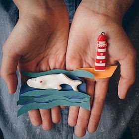 Whale polymer clay brooch. Polymer clay jewelry. Whale jewelry. Whale pendant. Sea accessories. Lighthouse pendant