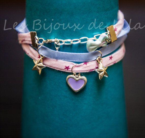 Bracelet à breloques -Cordon rose à étoile -Ruban satin mauve -Chaînette ajustable