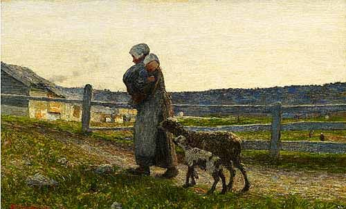 """Le due madri"", 1891. Oil painting (38 x 61 cm) by Giovanni Segantini."