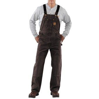 Carhartt Bib Overalls - Sandstone Duck, Unlined (For Men) in Dark Brown