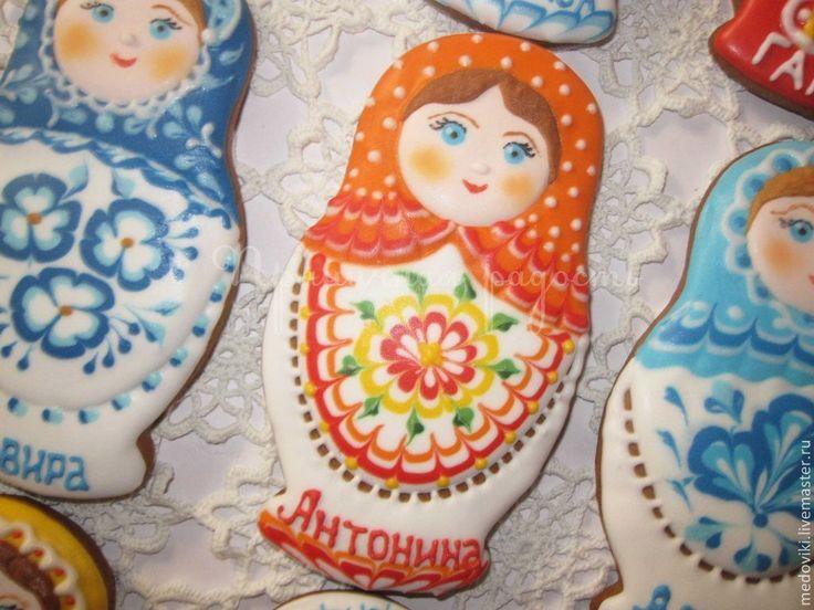 Купить Пряник Русская матрешка - матрешка, имбирный пряник, сладкий сувенир, русский сувенир, подарок