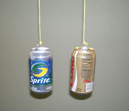 (Scientist) Bernoulli Principle Aerodynamics Science Project hanging cans with top of tin can bent