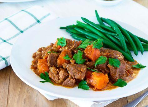 Slow cooked beef satay with sweet potato