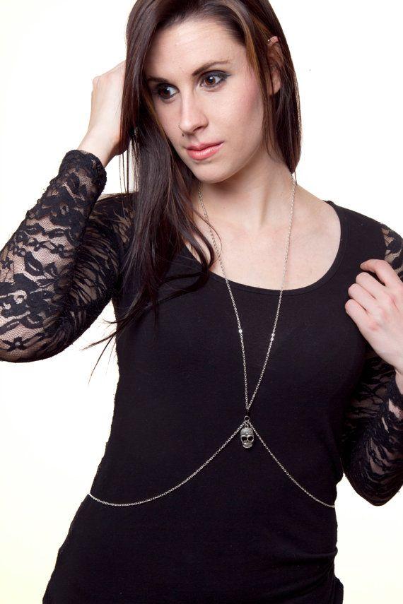 Skull silver body chainbody jewelry by DangerouslyDifferent, $25.00