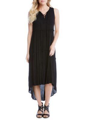 Karen Kane Women's Lace-Up High Low Dress - Black - Xs