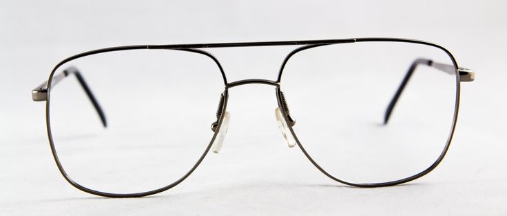 New old stock Men's Vintage Retro eyeglass frame with Brow bar Metal Silver/Gray color Spring hinges by FrameSolutions on Etsy