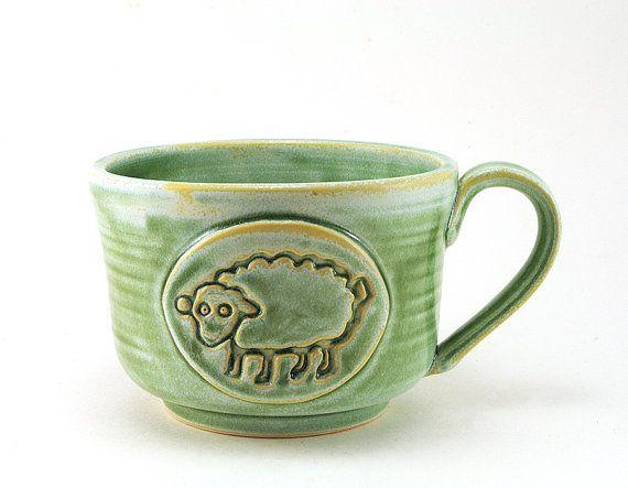 Large Green Sheep Mug Ceramic Soup Mug Or Bowl Unique
