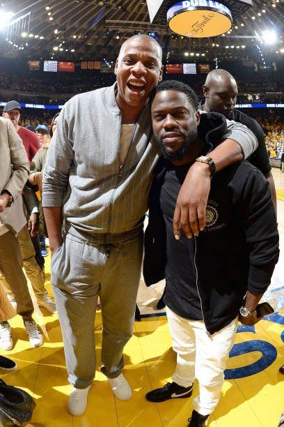 "aintnojigga: "" Jay Z and Kevin Hart, photographed at Game 1 of the NBA Finals, in which the Golden State Warriors beat the Cleveland Cavaliers 113-91. Hov had ties to both teams—Roc Nation Sports client Kevin Durant killed it on behalf of the Dub..."